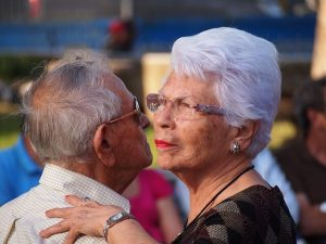 an older couple dancing on a date