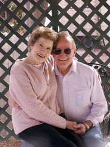 a senior couple in a romantic pose